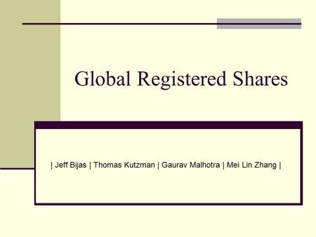 Global Registered Shares | Jeff Bijas | Thomas Kutzman | Gaurav Malhotra | Mei Lin Zhang |