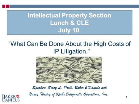 Intellectual Property Section Lunch & CLE July 10 Intellectual Property Section Lunch & CLE July 10 What Can Be Done About the High Costs of IP Litigation.