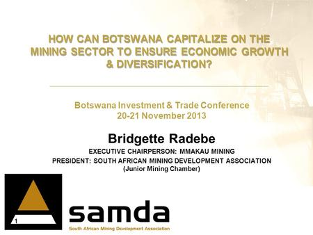 Botswana Investment & Trade Conference 20-21 November 2013