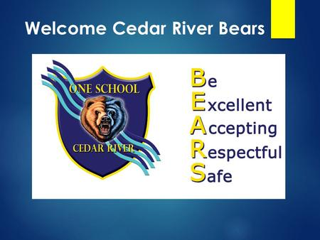 Welcome Cedar River Bears. 3 Write your name here.