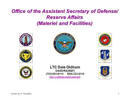 Current as of 13Jan20141 LTC Dale Oldham OASD/RA(M&F) (703) 693-8110 DSN 223-8110 Office of the Assistant.