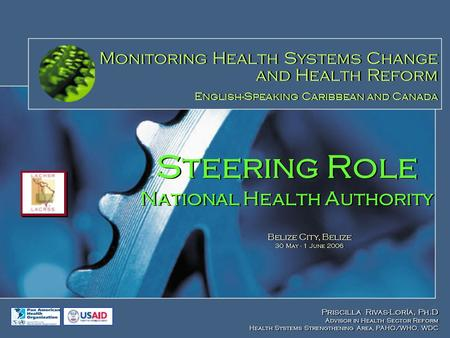 Steering Role National Health Authority Priscilla Rivas-Loría, Ph.D Advisor in Health Sector Reform Health Systems Strengthening Area, PAHO/WHO, WDC Priscilla.