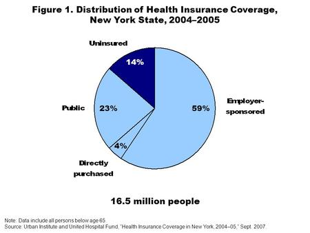 59%23% 4% Figure 1. Distribution of Health Insurance Coverage, New York State, 2004–2005 16.5 million people Note: Data include all persons below age 65.