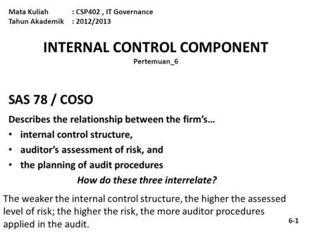 INTERNAL CONTROL COMPONENT Pertemuan_6 Mata Kuliah: CSP402, IT Governance Tahun Akademik : 2012/2013 SAS 78 / COSO Describes the relationship between the.