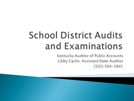 Kentucky Auditor of Public Accounts Libby Carlin, Assistant State Auditor (502) 564-5841.