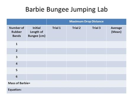 Barbie Bungee Jumping Lab