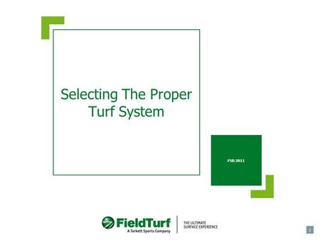 1 Selecting The Proper Turf System FSB 2011. Introduction  Installing an artificial turf system requires a substantial investment.  Therefore, selecting.