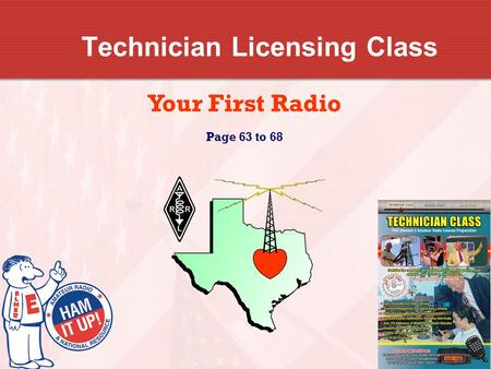 Technician Licensing Class Your First Radio Page 63 to 68.