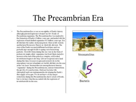 The Precambrian Era The Precambrian Era covers seven-eighths of Earth's history although paleontologists have found very few fossils of Precambrian organisms.