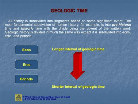 GEOLOGIC TIME All history is subdivided into segments based on some significant event. The most fundamental subdivision of human history, for example,