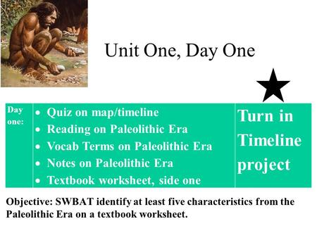 Unit One, Day One Turn in Timeline project Quiz on map/timeline