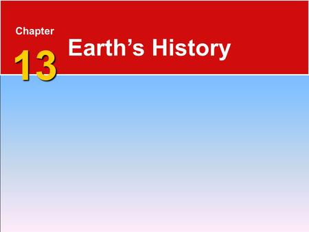 13 Chapter 13 Earth's History. Precambrian History 13.1 Precambrian Time  4.56 billion years ago until the start of the Cambrian period, over 4 billion.