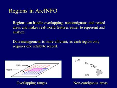 Regions in ArcINFO Regions can handle overlapping, noncontiguous and nested areas and makes real-world features easier to represent and analyze. Data management.