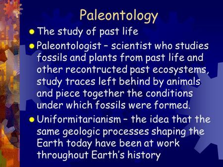 Paleontology The study of past life