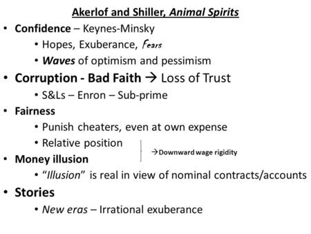 Akerlof and Shiller, Animal Spirits Confidence – Keynes-Minsky Hopes, Exuberance, Fears Waves of optimism and pessimism Corruption - Bad Faith  Loss of.