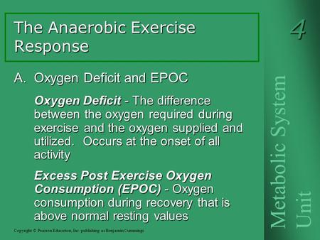 A. Oxygen Deficit and EPOC Oxygen Deficit - The difference between the oxygen required during exercise and the oxygen supplied and utilized. Occurs at.