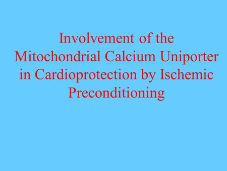 Involvement of the Mitochondrial Calcium Uniporter in Cardioprotection by Ischemic Preconditioning.