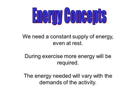 We need a constant supply of energy, even at rest. During exercise more energy will be required. The energy needed will vary with the demands of the activity.