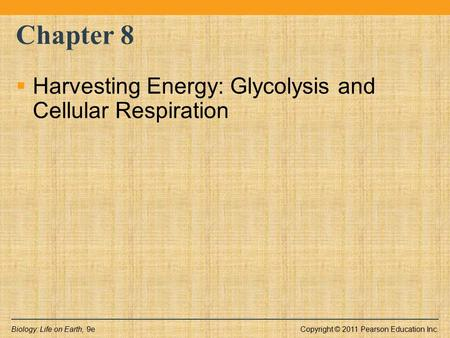 Chapter 8 Harvesting Energy: Glycolysis and Cellular Respiration.
