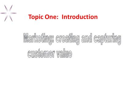 Topic One: Introduction Objectives Course Organization Tasks of Marketing Major Concepts & Tools of Marketing Marketplace Orientations Marketing's Responses.