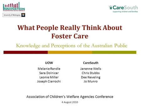 1 What People Really Think About Foster Care Association of Children's Welfare Agencies Conference 4 August 2010 Knowledge and Perceptions of the Australian.