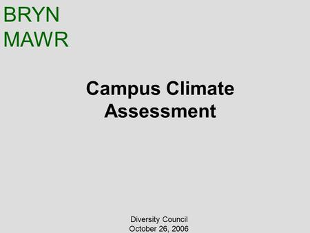 BRYN MAWR Campus Climate Assessment Diversity Council October 26, 2006.
