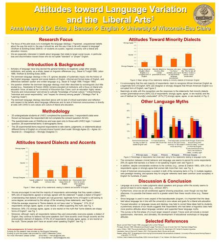 Attitudes toward Language Variation and the Liberal Arts 1 Anna Merry & Dr. Erica J. Benson  English  University of Wisconsin-Eau Claire Research Focus.