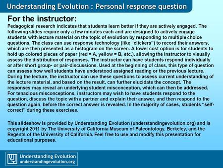 Understanding Evolution : Personal response question