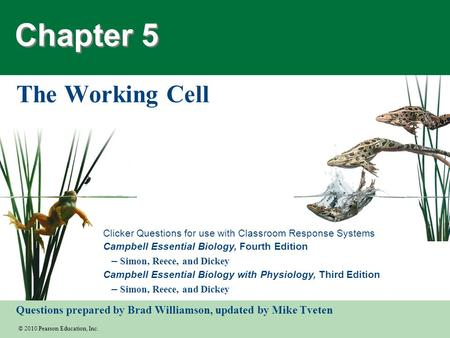 Chapter 5 The Working Cell.