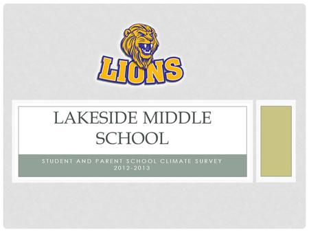 STUDENT AND PARENT SCHOOL CLIMATE SURVEY 2012-2013 LAKESIDE MIDDLE SCHOOL.