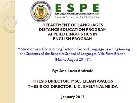 THESIS DIRECTOR: MSC. LILIAN AVALOS