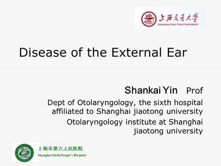 Disease of the External Ear