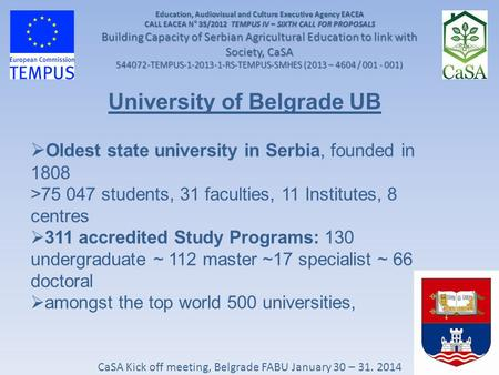 CaSA Kick off meeting, Belgrade FABU January 30 – 31. 2014 Education, Audiovisual and Culture Executive Agency EACEA CALL EACEA N° 35/2012 TEMPUS IV –