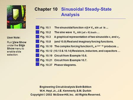 Chapter 10 Sinusoidal Steady-State Analysis Engineering Circuit Analysis Sixth Edition W.H. Hayt, Jr., J.E. Kemmerly, S.M. Durbin Copyright © 2002 McGraw-Hill,