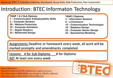 Keywords: BTEC IT, Subsidiary Diploma, Storyboard, House Style, Web Production, Peer Assessment Lesson Objectives: You will be able to DESIGN a Website.