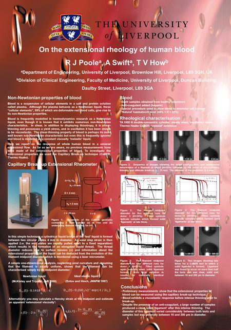 On the extensional rheology of human blood R J Poole a, A Swift a, T V How b a Department of Engineering, University of Liverpool, Brownlow Hill, Liverpool,