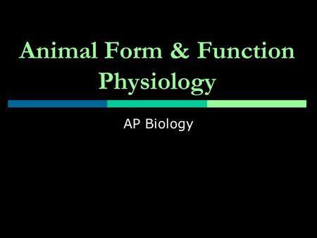 Animal Form & Function Physiology AP Biology. Nerve Impulse Transmission  Resting potential  More negative inside cell than outside Why? Large negatively.