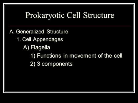 Prokaryotic Cell Structure A. Generalized Structure 1. Cell Appendages A) Flagella 1) Functions in movement of the cell 2) 3 components.