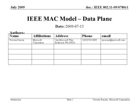 Doc.: IEEE 802.11-09/0780r1 Submission July 2009 Victoria Poncini, Microsoft CorporationSlide 1 IEEE MAC Model – Data Plane Date: 2009-07-13 Authors:
