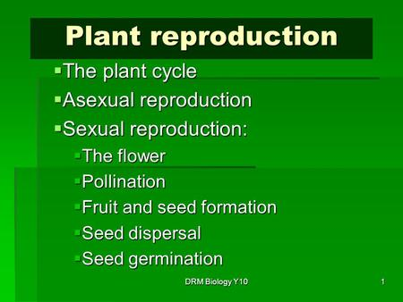 Plant reproduction The plant cycle Asexual reproduction