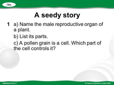 A seedy story 1 a) Name the male reproductive organ of a plant.