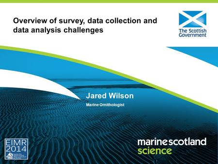 Overview of survey, data collection and data analysis challenges Jared Wilson Marine Ornithologist.