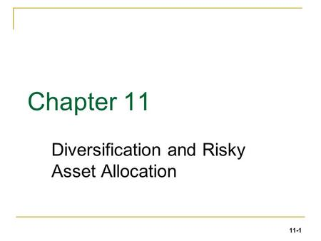 Diversification and Risky Asset Allocation