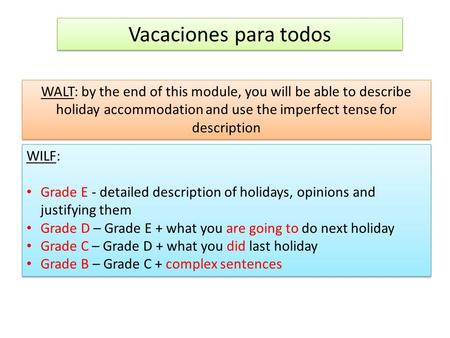 Vacaciones para todos WALT: by the end of this module, you will be able to describe holiday accommodation and use the imperfect tense for description WILF: