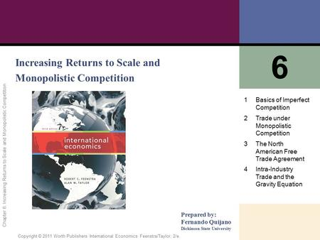 6 Increasing Returns to Scale and Monopolistic Competition 1