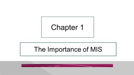 The Importance of MIS Chapter 1. 1-2 This Could Happen to You: You're Firing Me? Jennifer lacks critical skills that AllRoad Parts needs 1.Abstract reasoning.