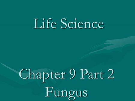 Life Science Chapter 9 Part 2 Fungus. Fungi water molds, bread molds, Sac fungi, yeasts, mushrooms and Penicillium sp. Usually require moist, dark and.