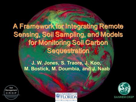 A Framework for Integrating Remote Sensing, Soil Sampling, and Models for Monitoring Soil Carbon Sequestration J. W. Jones, S. Traore, J. Koo, M. Bostick,