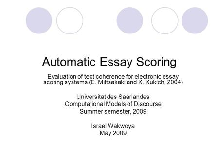 Automated essay evaluation