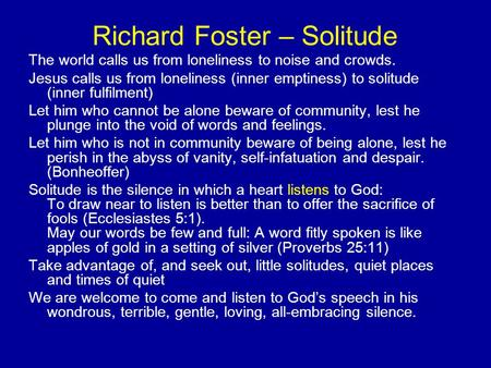 Richard Foster – Solitude